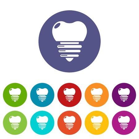 Dental implant icons set vector color Illustration