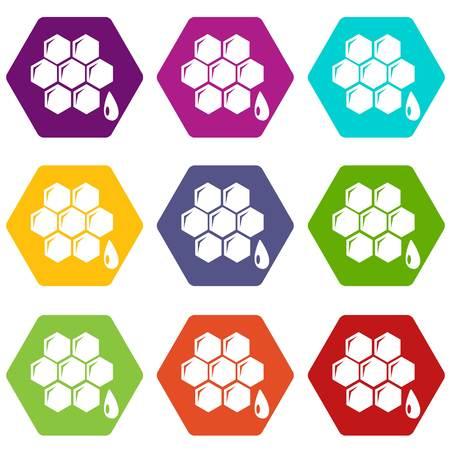 Honeycomb icons set 9 vector