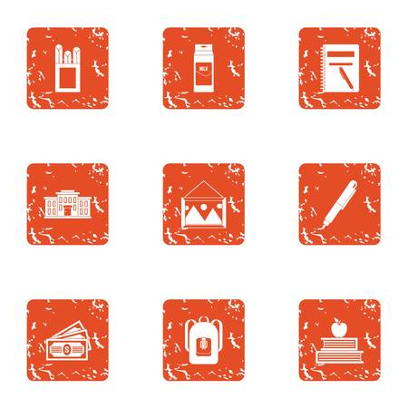 Tuition fees icons set, grunge style