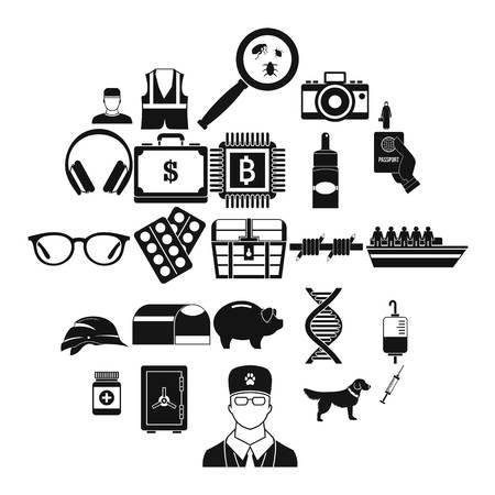 Shadowing icons set, simple style Illustration