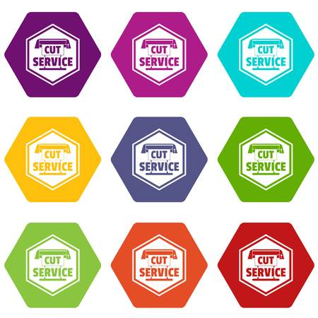 Cut service icons set 9 vector