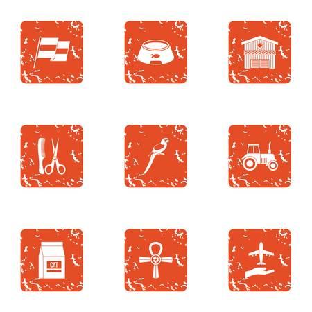 Upkeep icons set, grunge style Illustration