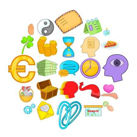 Benevolence icons set, cartoon style