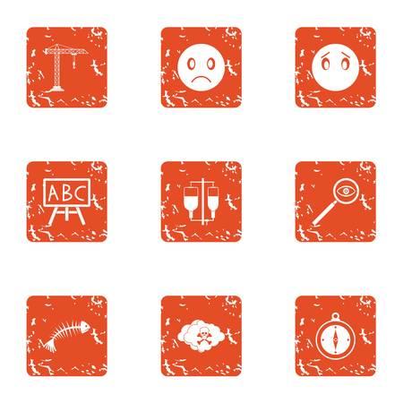 Poorly icons set, grunge style