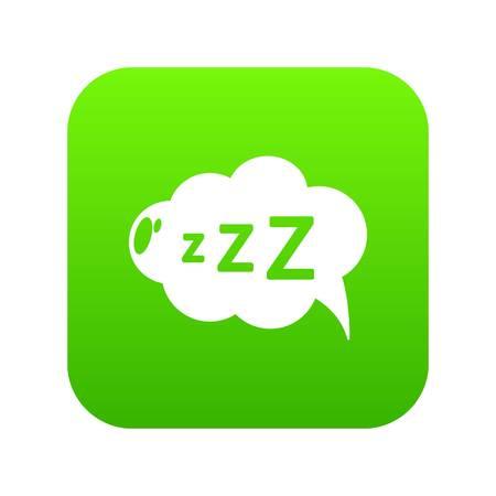 Snoring icon green vector