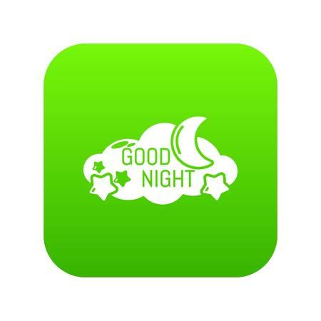 Sleep icon green vector