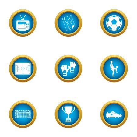 College football icons set, flat style Illusztráció