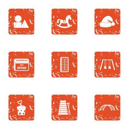 Newborn infant icons set, grunge style Banque d'images - 102103380