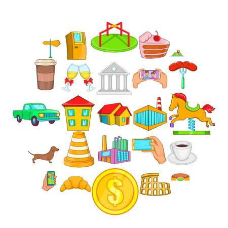Market icons set, cartoon style Иллюстрация