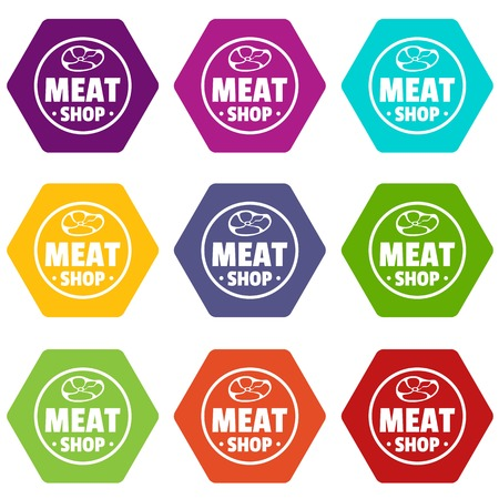 Modern meat shop icons set 9 vector