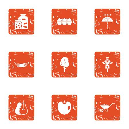 Natural environment icons set, grunge style Illustration
