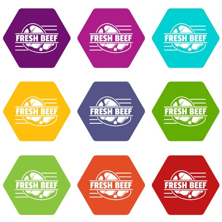Fresh beef icons set 9 vector