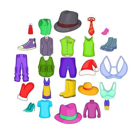 Outerwear icons set, cartoon style