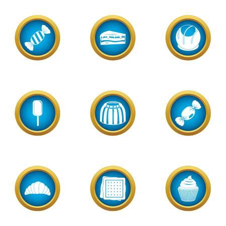 Sweet dish icons set, flat style