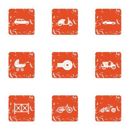 Motor vehicles icons set, grunge style