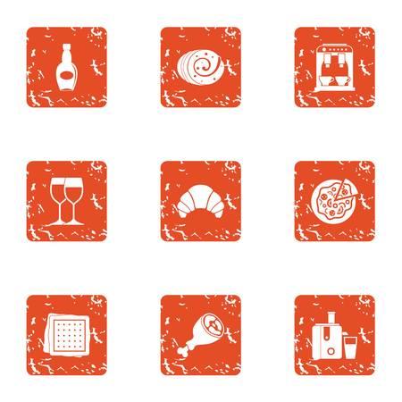 cafe icons set, grunge style