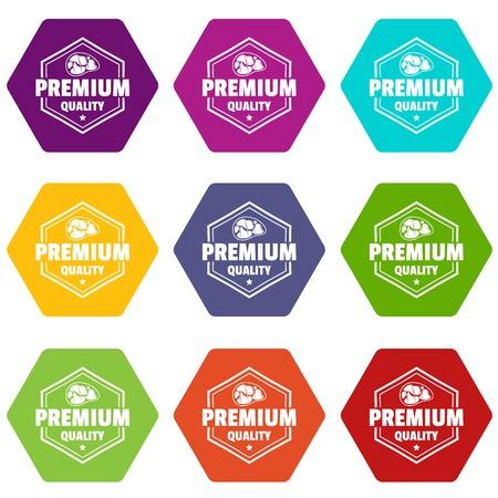 Premium meat quality icons set 9 vector