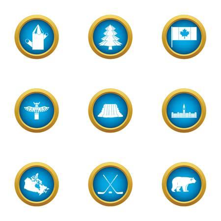 Set di icone del popolo canadese, stile piano