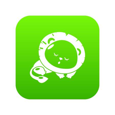Sleeping lion icon green vector