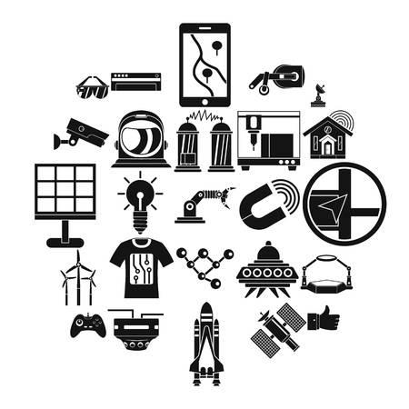 Near future icons set, simple style