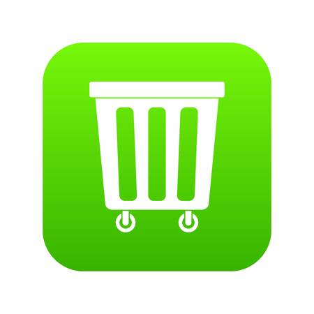Outdoor plastic trash can icon digital green