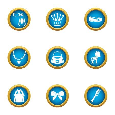 Women jewelry icons set, flat style