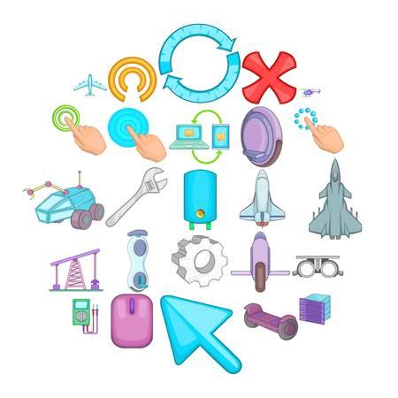 Advanced technologies icons set, cartoon style Vettoriali