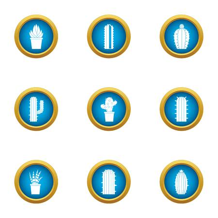 Different cactus icons set, flat style