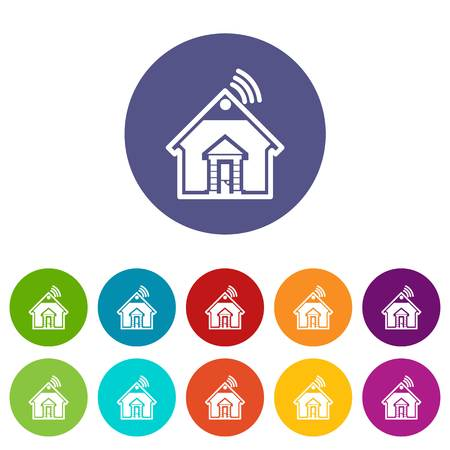 Home icons set vector color