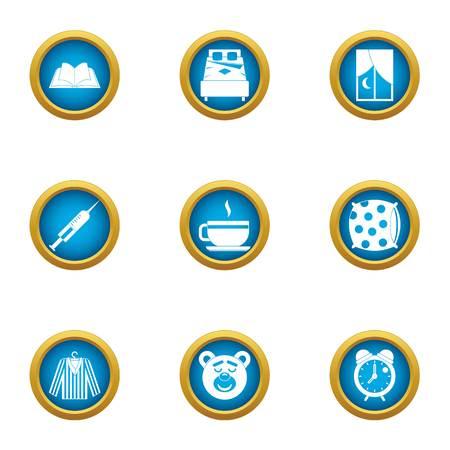 Pediatric icons set, flat style Illustration