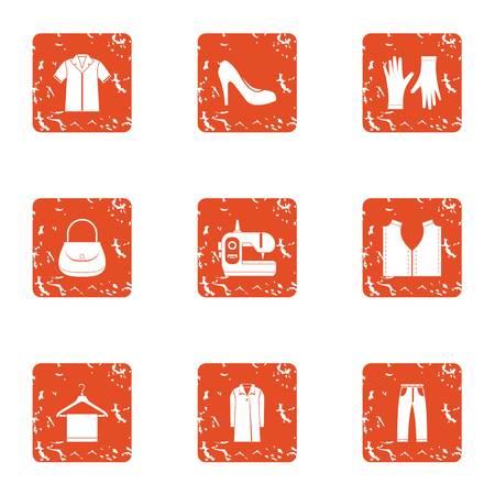 Seamstress icons set, grunge style