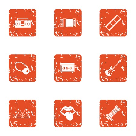 Magic photo icons set, grunge style Banque d'images - 102336877