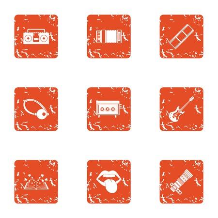 Magic photo icons set, grunge style Illustration