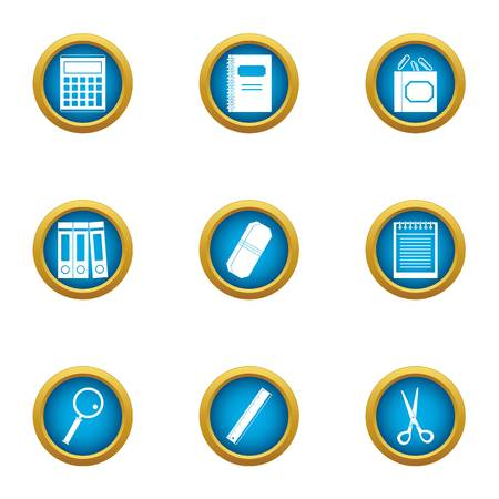Book accounting icons set, flat style  イラスト・ベクター素材