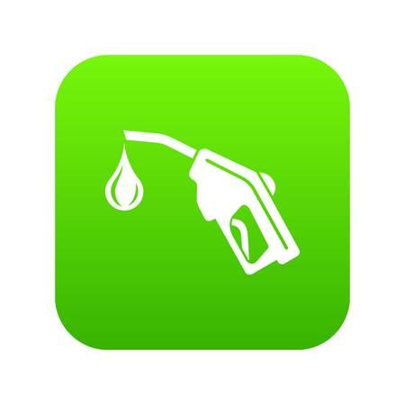 Gas pistol icon green vector