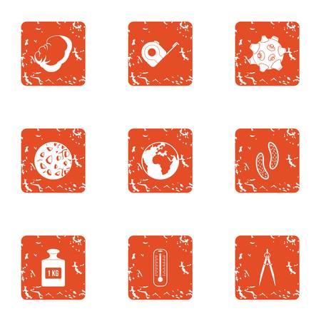Gravity icons set, grunge style 일러스트