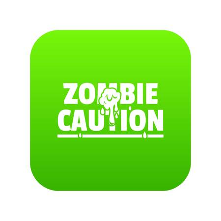 Zombie horror icon green vector