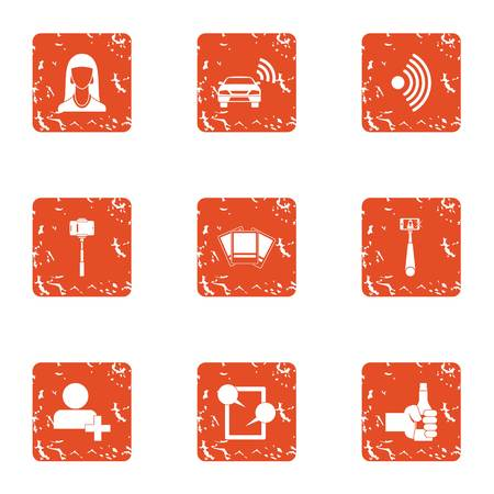 Wifi photo icons set, grunge style