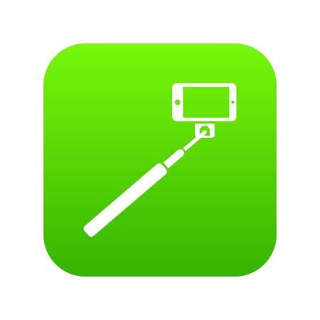 Selfie stick and smartphone icon digital green Illustration