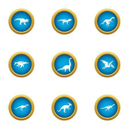 Prehistoric animal icons set, flat style
