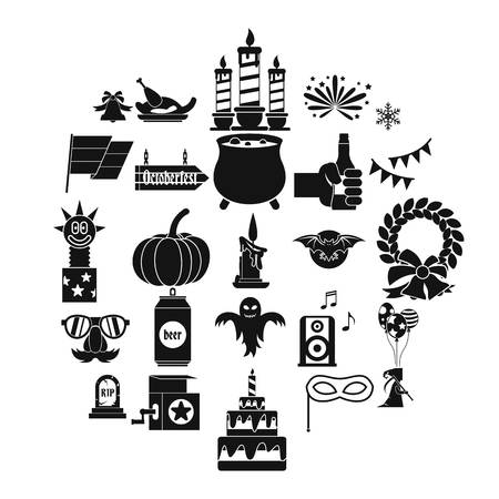 Relaxed pastime icons set, simple style Illustration