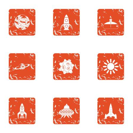 Outer space icons set, grunge style