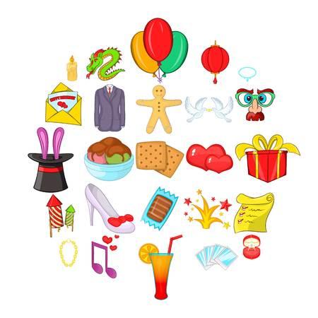Festive clothing icons set, cartoon style