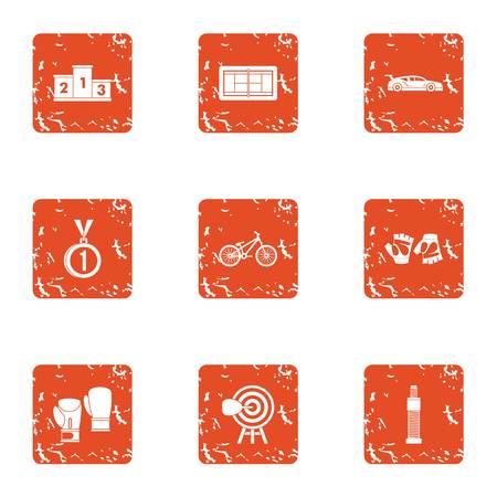 Ascent icons set, grunge style