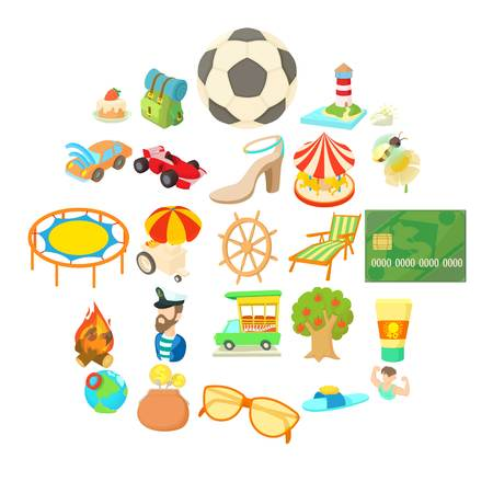 Carefree vacation icons set, cartoon style Stok Fotoğraf - 102192288