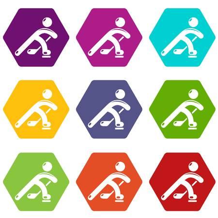 Hockey player icons set 9 vector