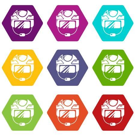 Hockey helmet icons set 9 vector