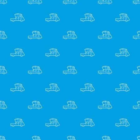 Hatchback car with cargo luggage pattern vector seamless blue Illustration