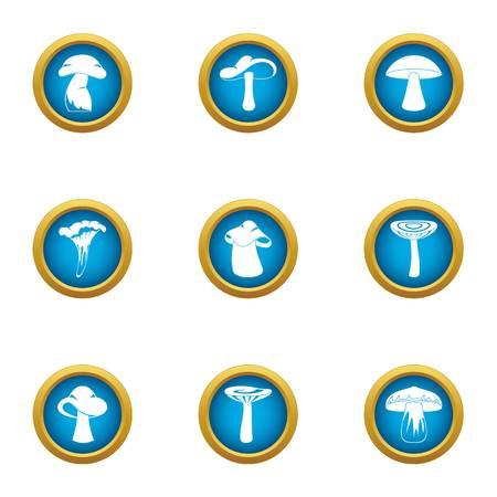 Delicious mushroom icons set, flat style