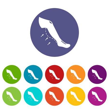 Increase calves icons set vector color